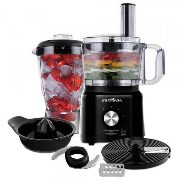 MULTIPROCESSADOR BRITANIA ALL IN ONE BMP900P 2 VEL 127V PRETO/PRATA